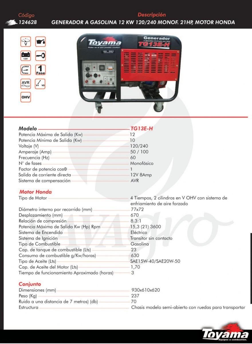 Generador A Gasolina 12kw TG13E-H 124628