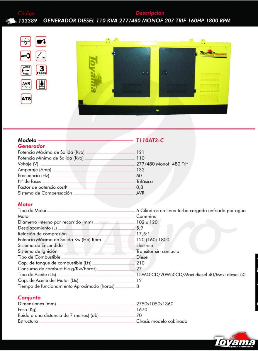 Generador Diesel TOYAMA de 110 KVA T110AT3-C 113389
