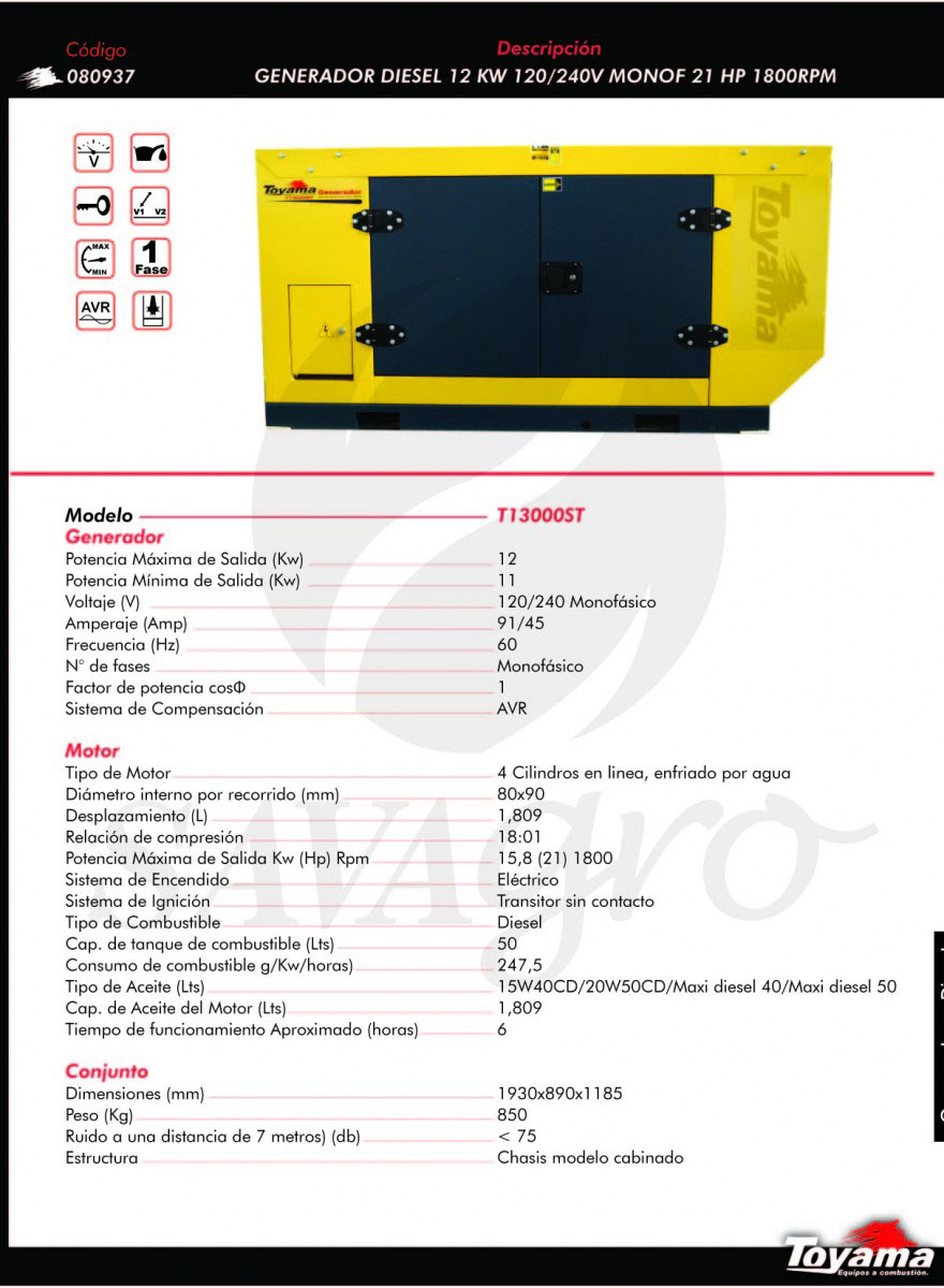 Generador Diesel TOYAMA de 12 Kw T13000ST 080937