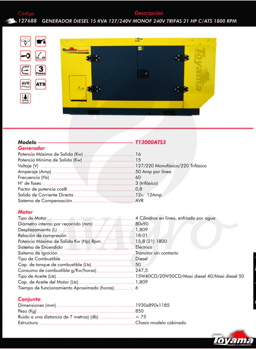 Generador Diesel TOYAMA de 15 Kw T13000ATS3 127688