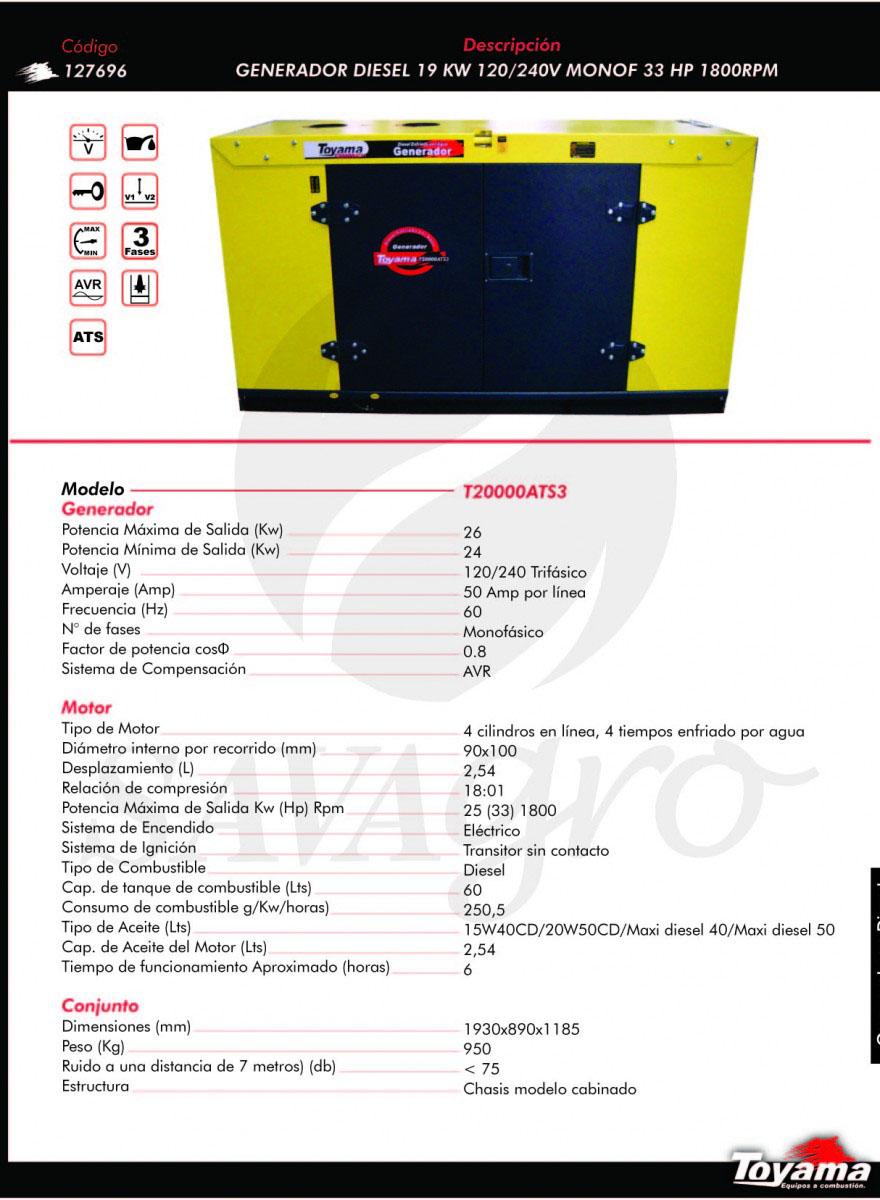Generador Diesel TOYAMA de 19 Kw T20000ATS3 127696