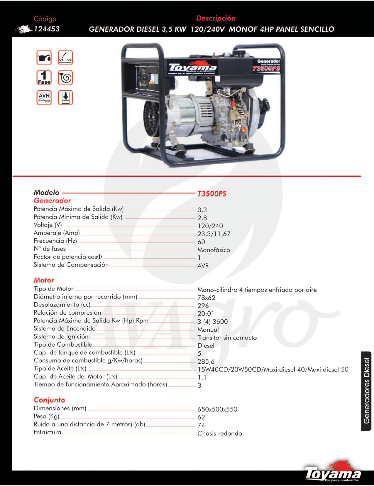 Generador Diesel TOYAMA de 3,5 Kw T3500PS 124453