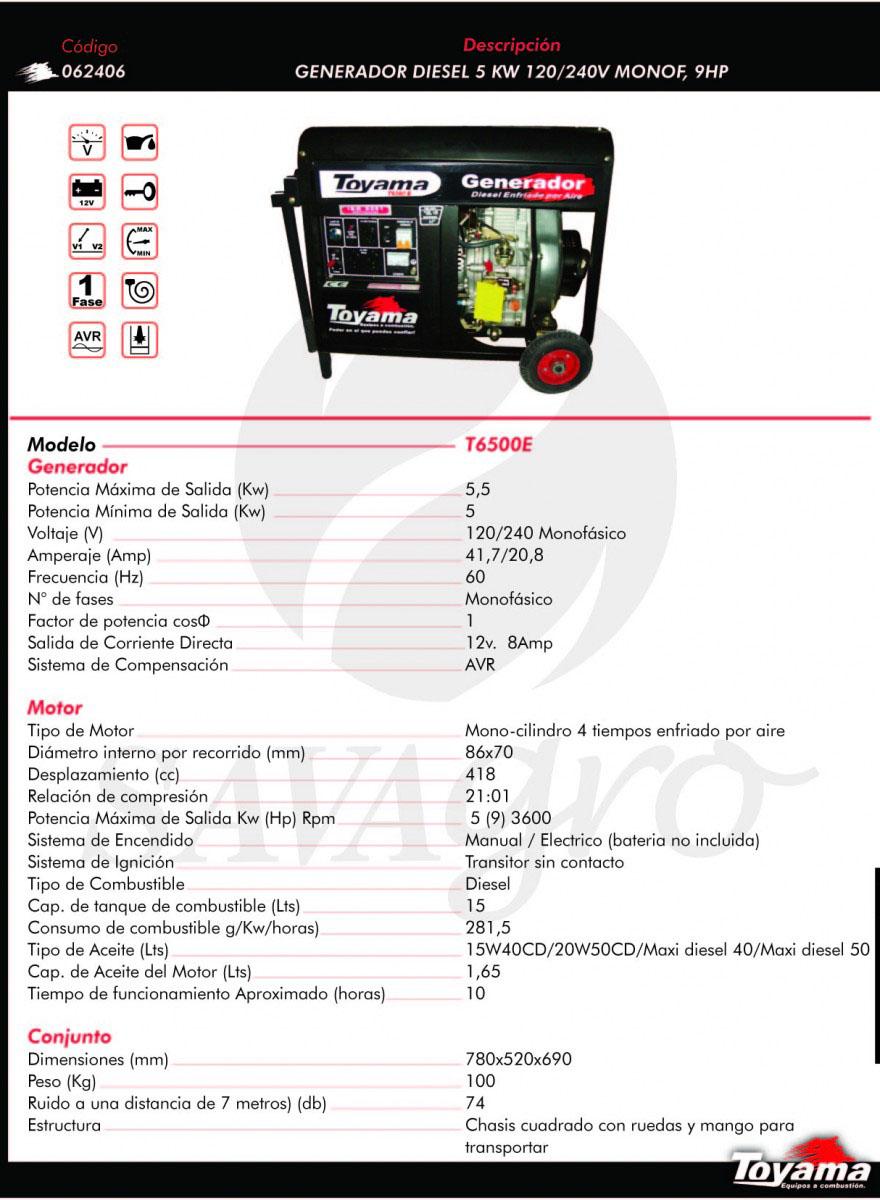 Generador Diesel TOYAMA de 5 Kw T6500E 062406