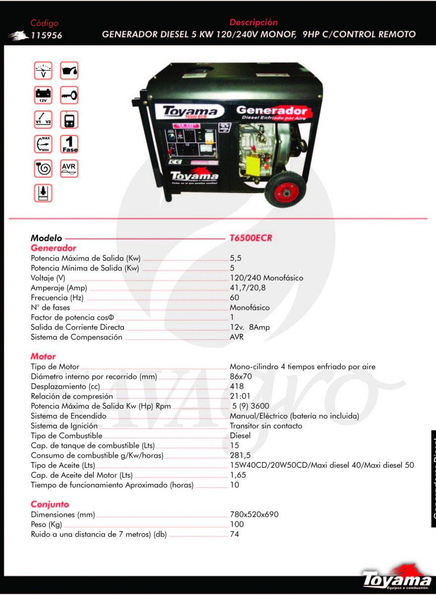 Generador Diesel TOYAMA de 5 Kw T6500ECR 115956