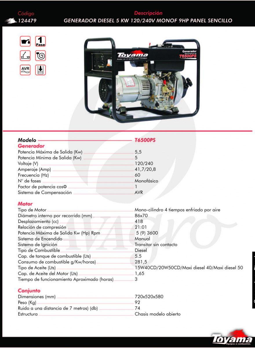 Generador Diesel TOYAMA de 5 Kw T6500PS 124479
