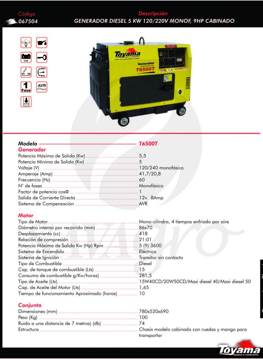 Generador Diesel TOYAMA de 5 Kw T6500T 067504