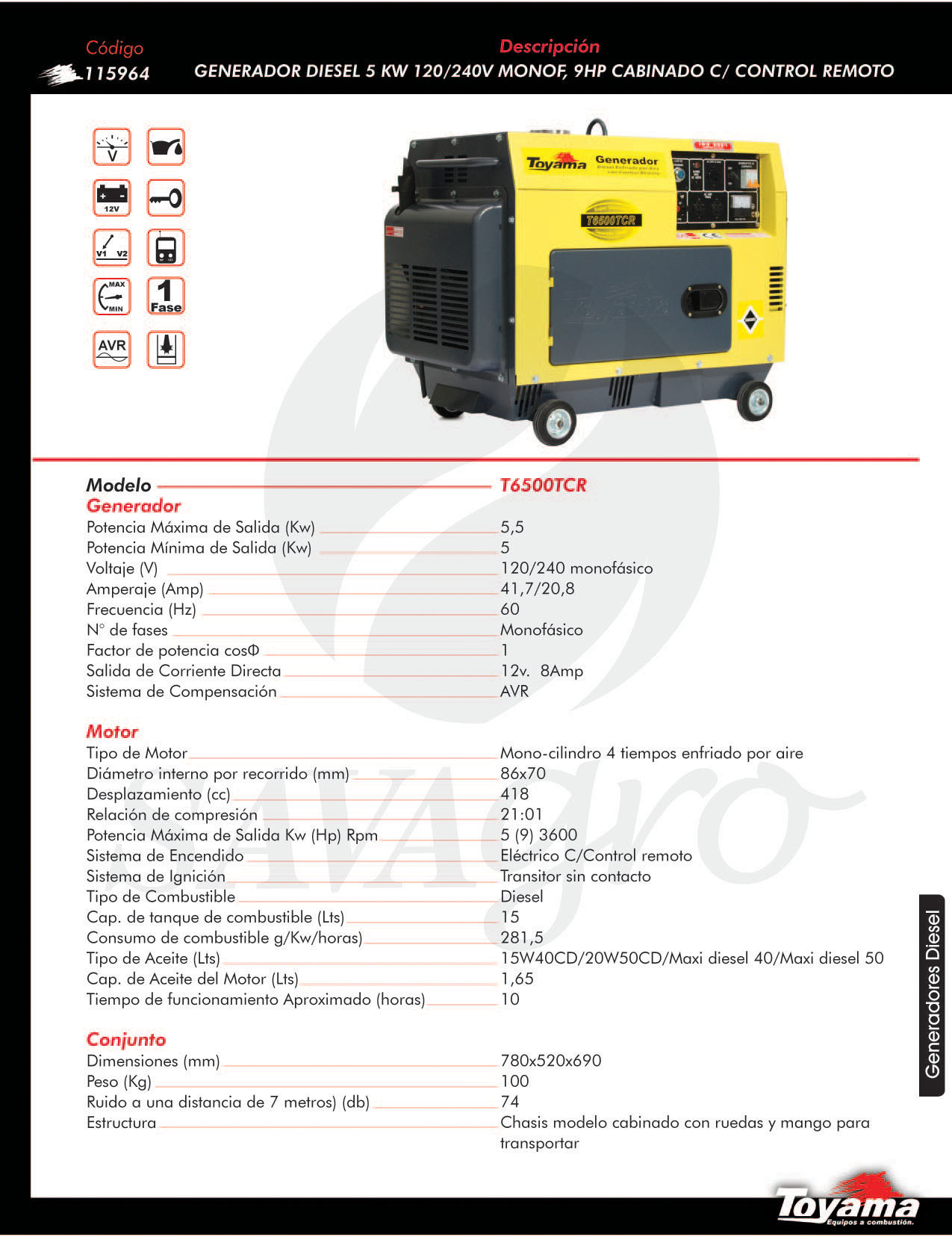 Generador Diesel TOYAMA de 5 Kw con control remoto T6500TCR 115964