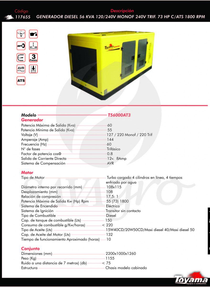 Generador Diesel TOYAMA de 56 Kva T56000AT3 117655