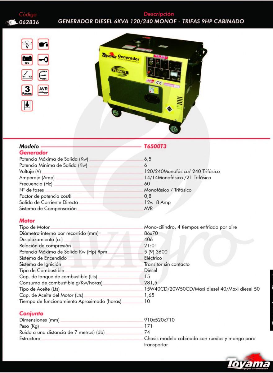 Generador Diesel TOYAMA de 6 KVA T6500T3 062836