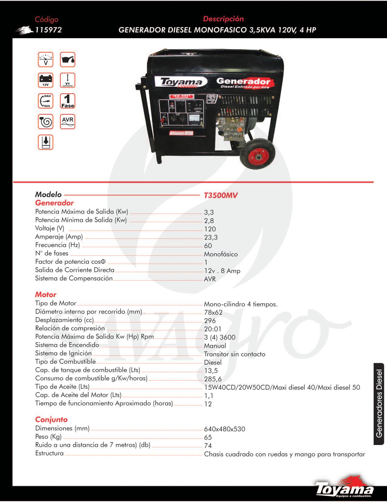 Generador Diesel monofasico TOYAMA de 3,5 KVA T3500MV 115972