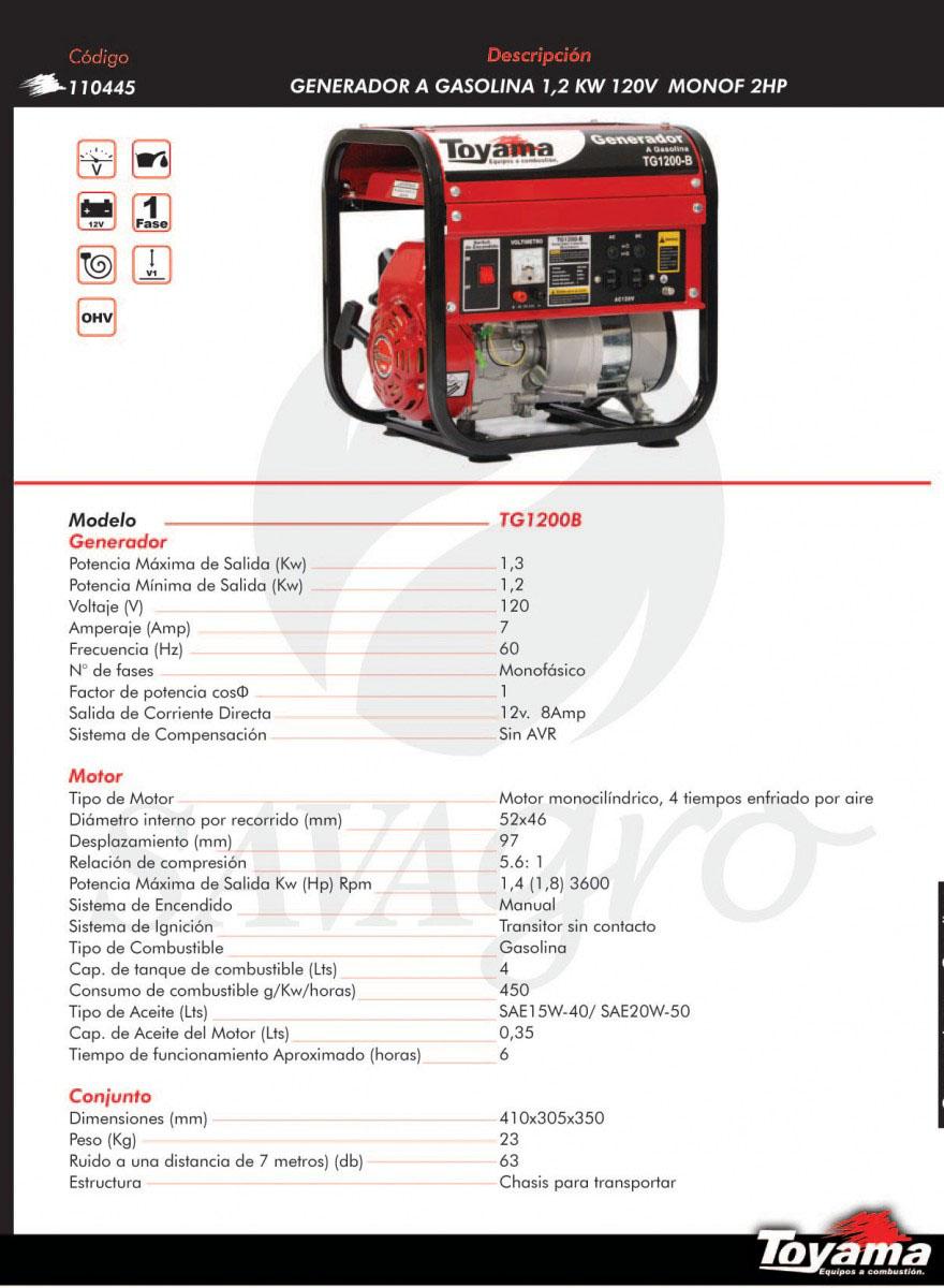 Generador a Gasolina 1,2kw TG1200B 110445