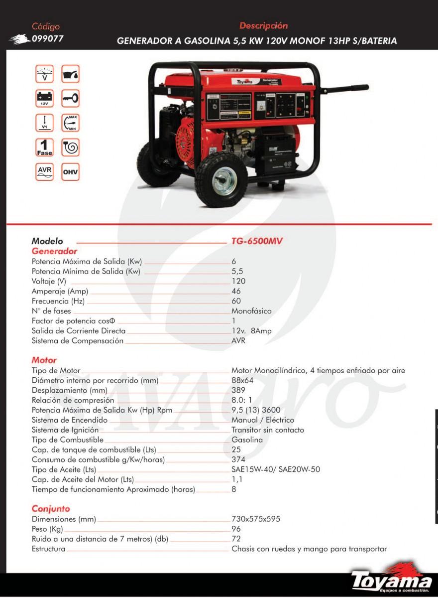 Generador a Gasolina 5,5 kw TG-6500MV 099077