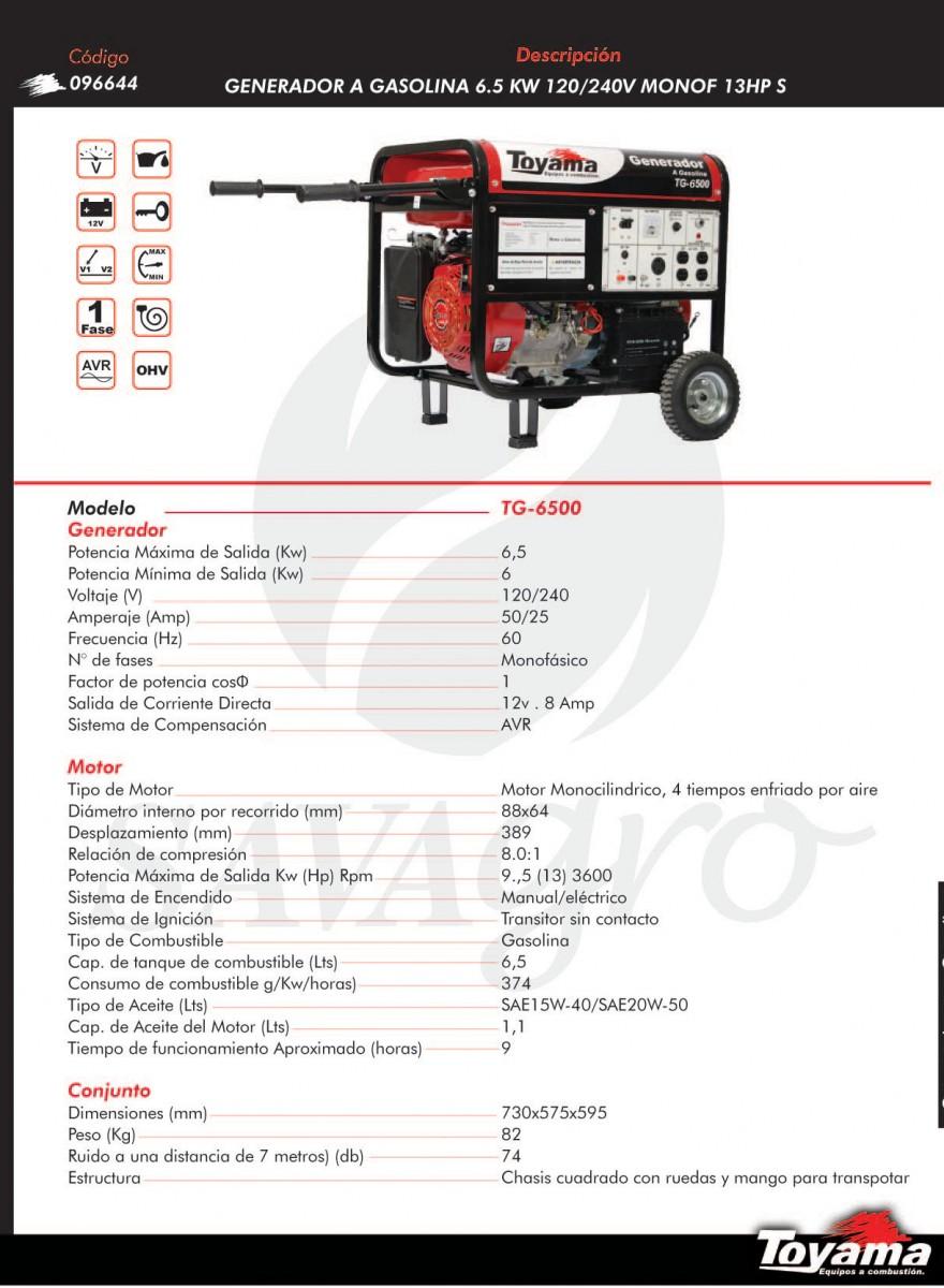 Generador a Gasolina 6,5kw TOYAMA TG-6500 096644