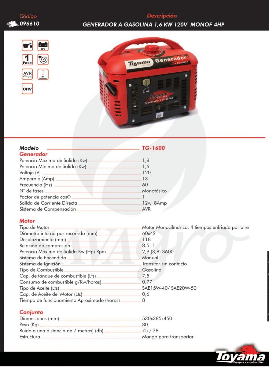 Generador a Gasolina TOYAMA 1,6kw TG-1600 096610