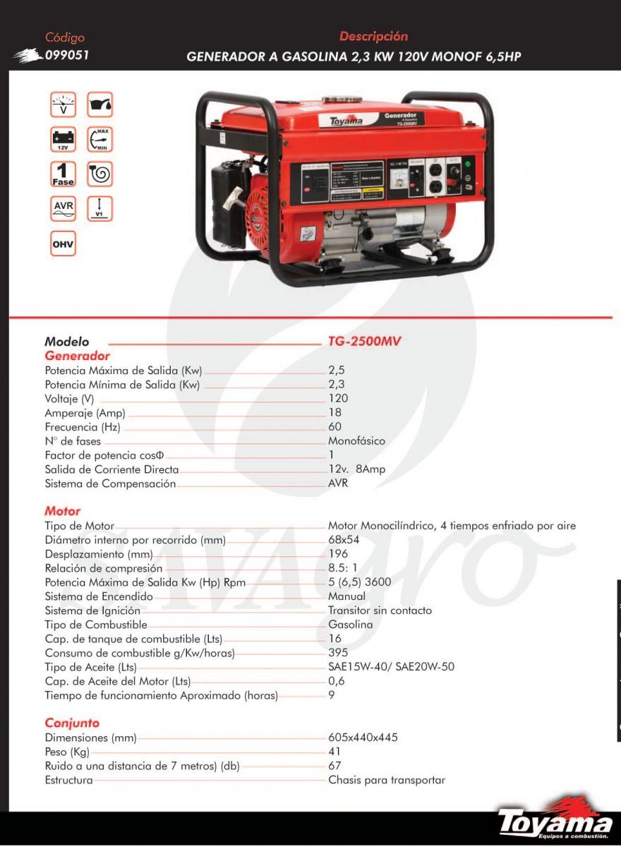 Generador a Gasolina TOYAMA 2,3kw TG-2500MV 099051