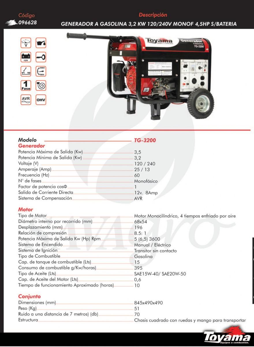 Generador a Gasolina TOYAMA 3,2kw TG-3200 096628