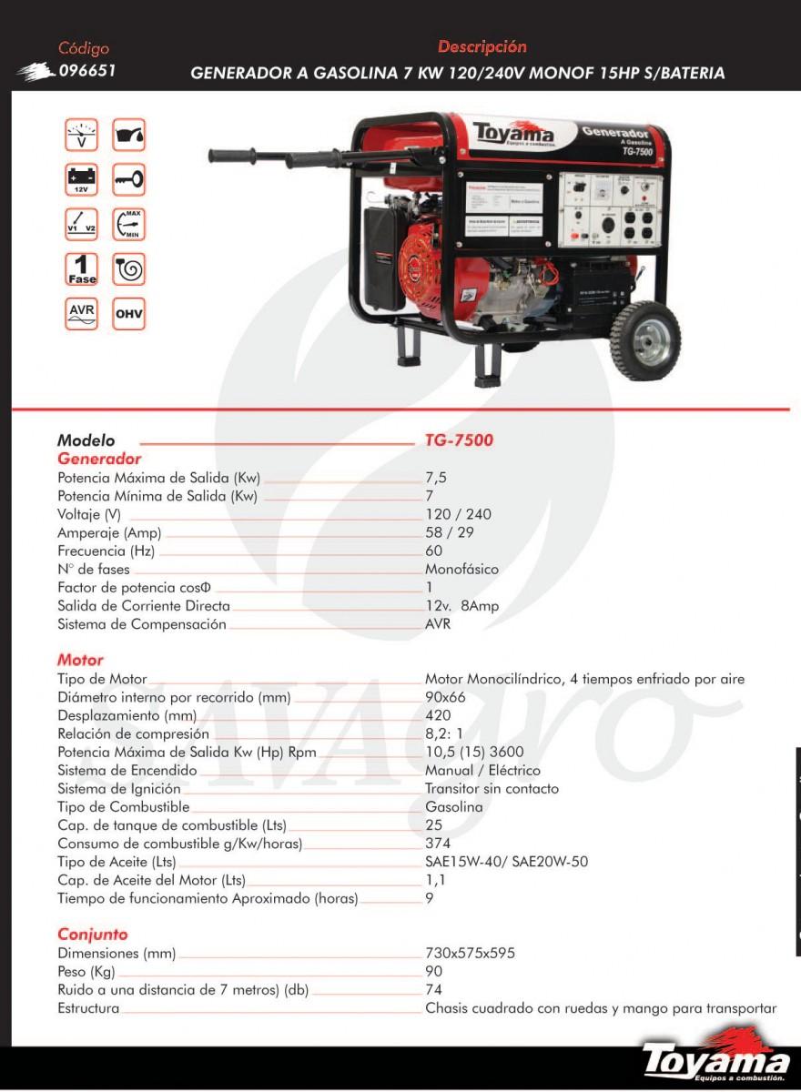 Generador a Gasolina TOYAMA 7kw TG-7500 096651