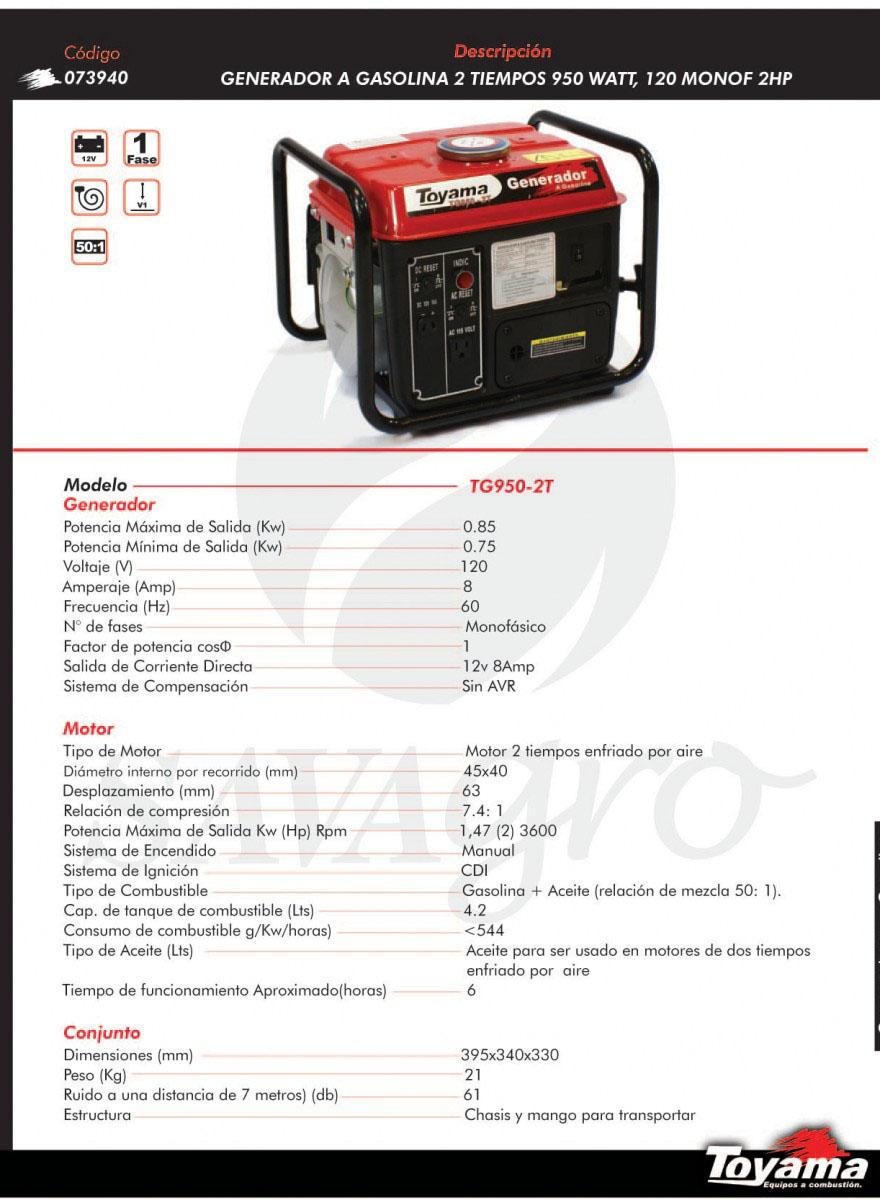 Generador a gasolina 2tiempos 950 watts TG950-2T 073940