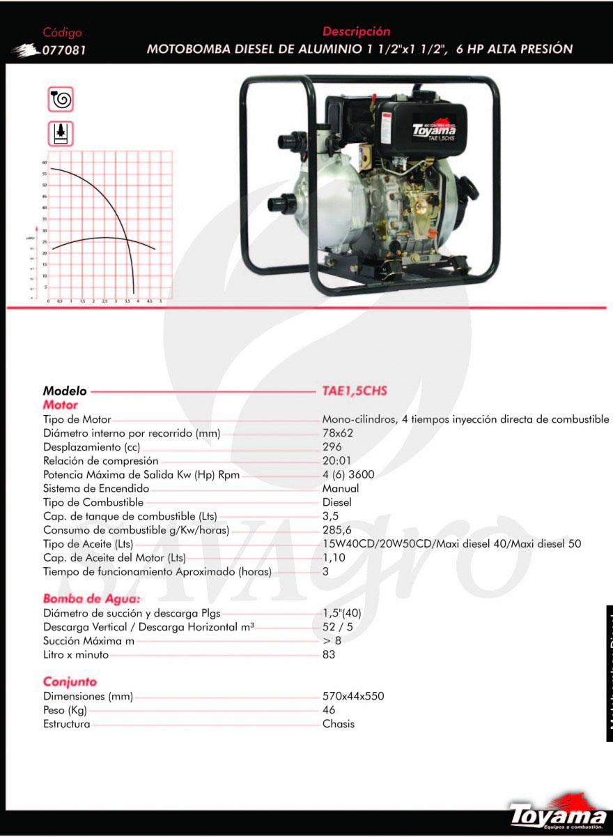 Motobomba Diesel de Aluminio 6hp TAE15CHS 077081