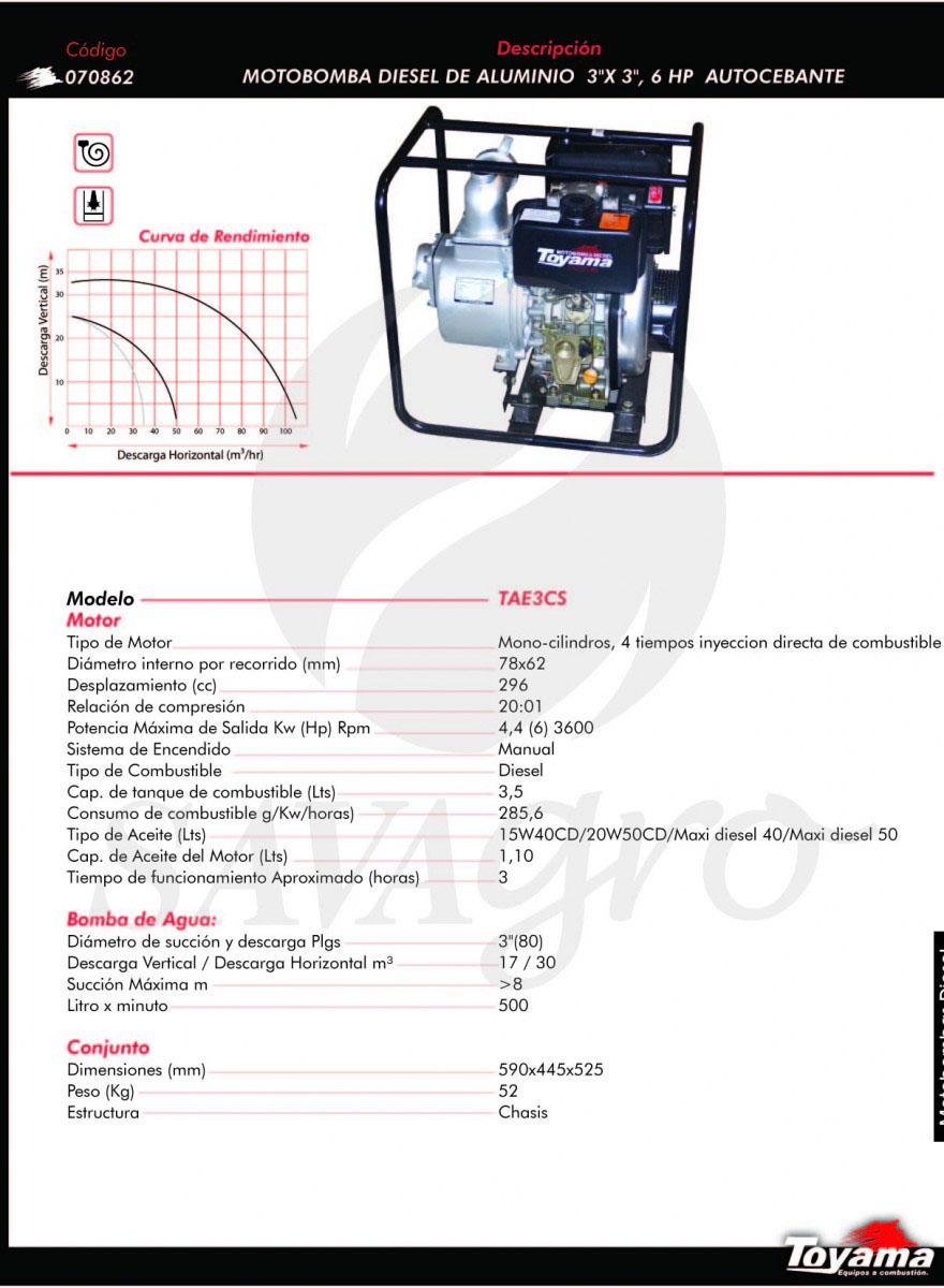 Motobomba Diesel de Aluminio 6hp TAE3CS 070862