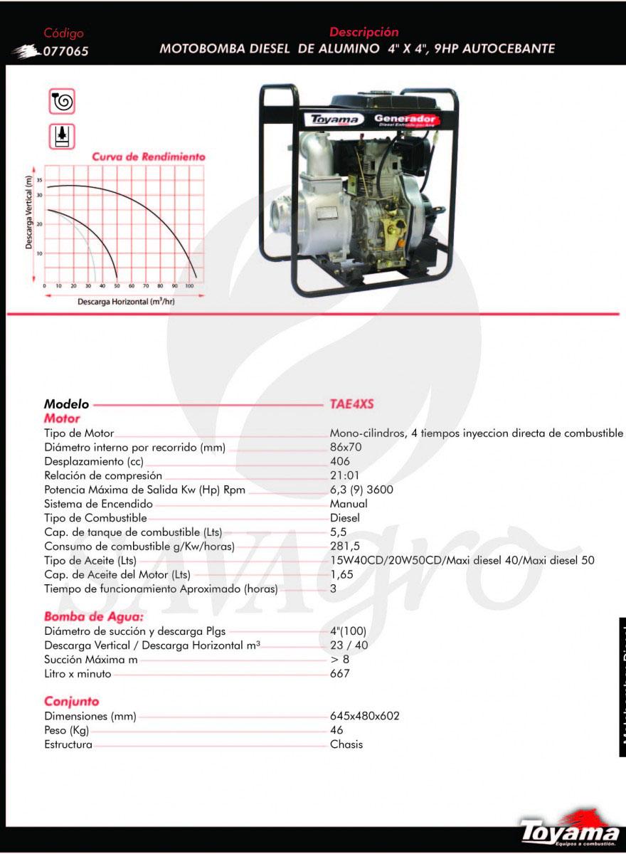 Motobomba Diesel de Aluminio 9hp TAE4XS 076065