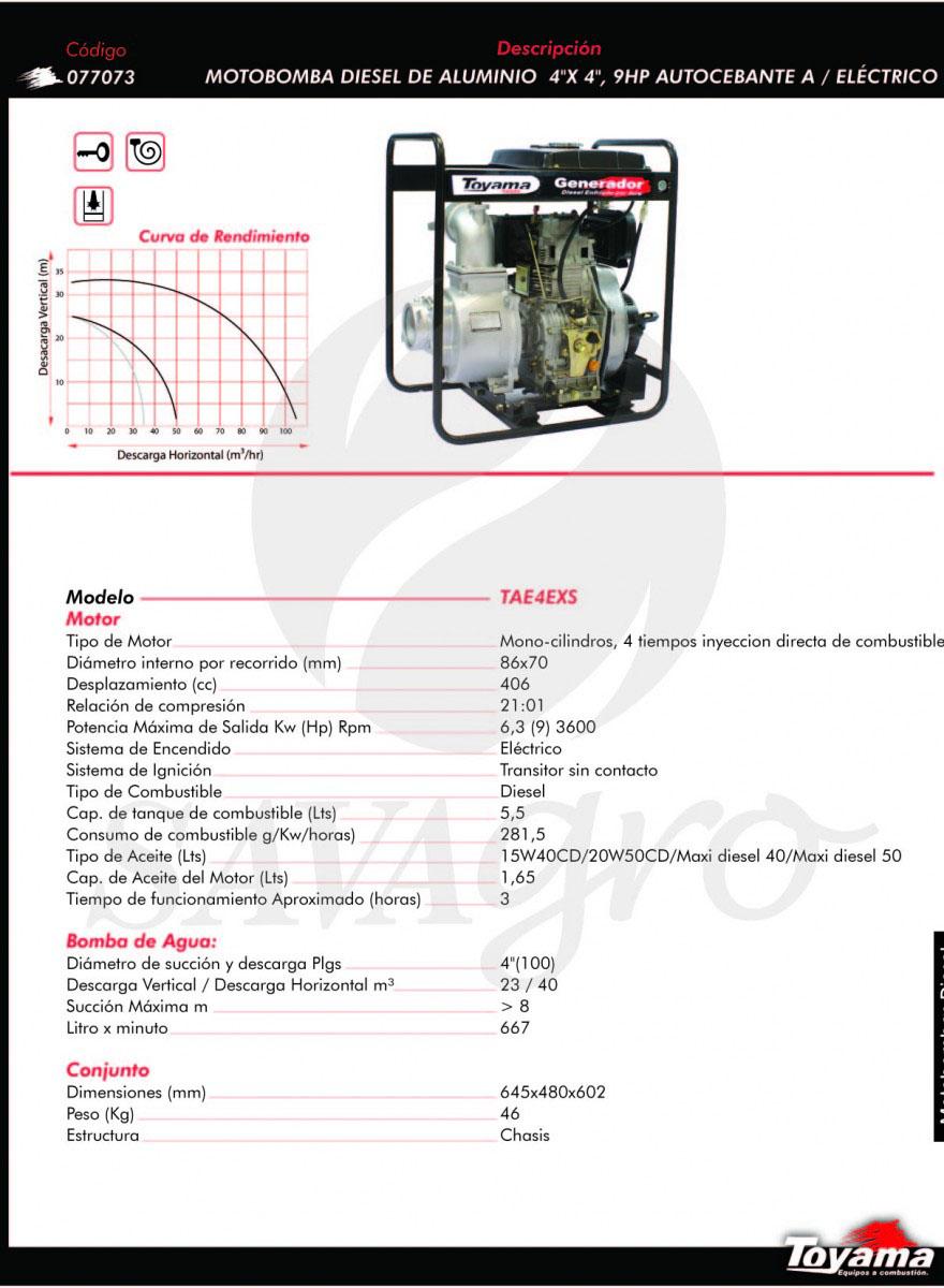 Motobomba Diesel de Aluminio 9hp TAE4XS 077073