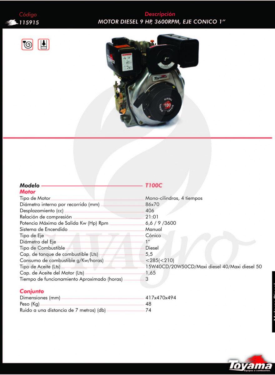 Motor Diesel 9hp 3600 RPM T100C 115915
