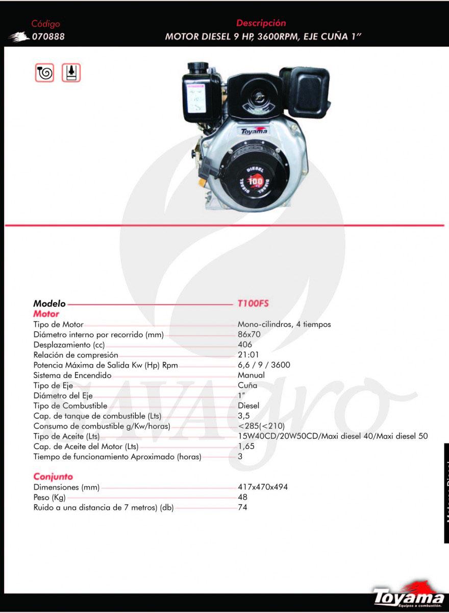 Motor Diesel 9hp 3600 RPM T100FS 070888