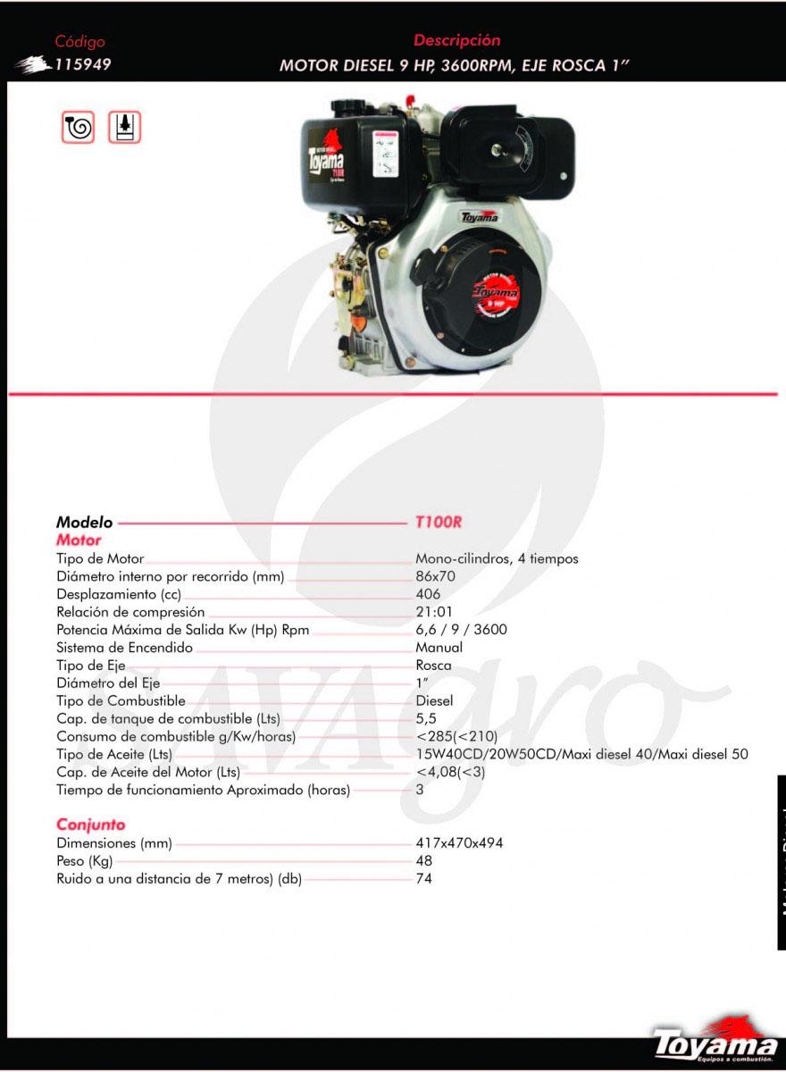 Motor Diesel 9hp 3600 RPM T100R 115949