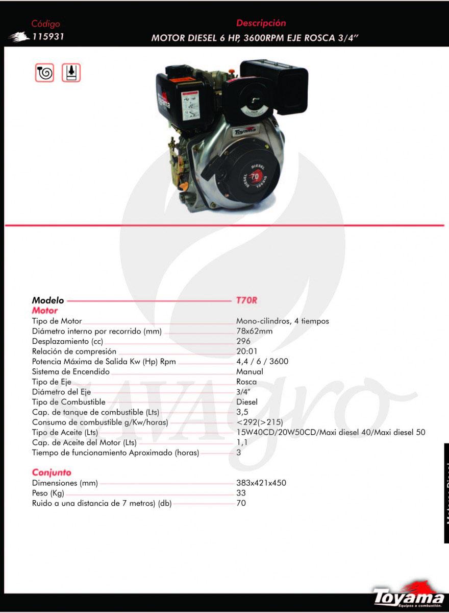 Motor Diesel TOYAMA 6Hp T70R 115931