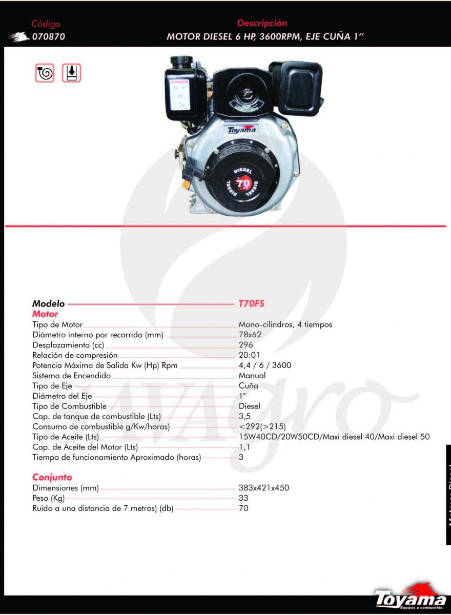 Motor Diesel Toyama 6HP T70FS 070870