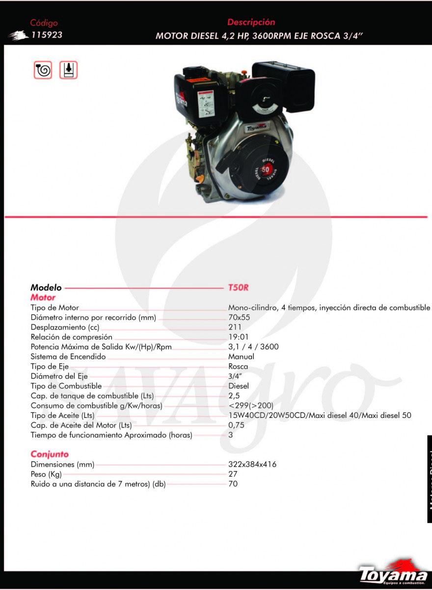 Motor Diesel Toyama de 4.2HP 3.600 RPM T50R 115923