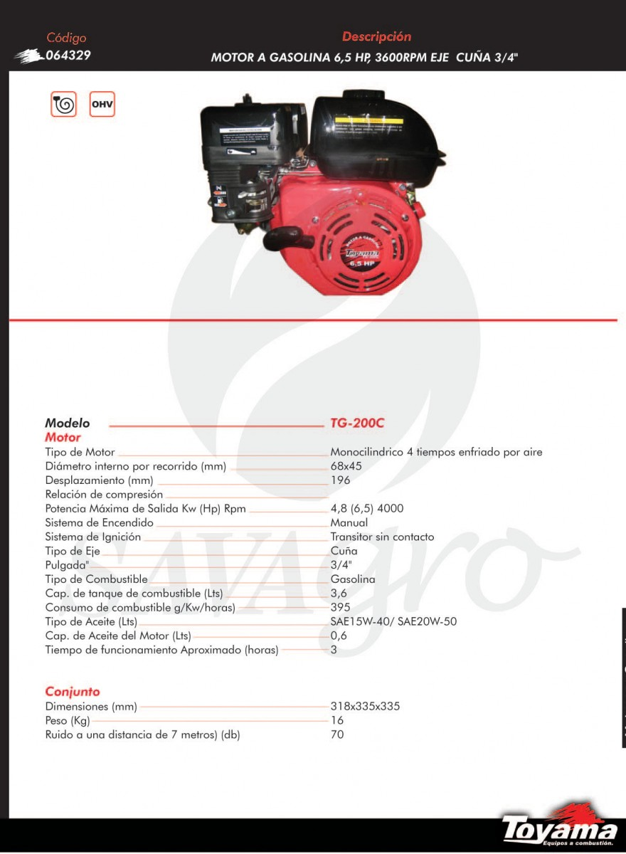 Motor a Gasolina 6,5 HP 3.600 RPM TG-200C 064329
