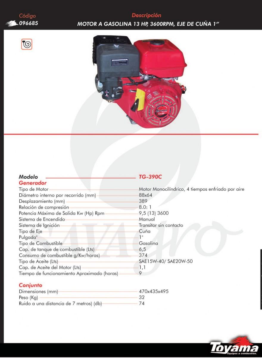 Motor a gasolina 13hp 3.600rpm TG-390C 096685