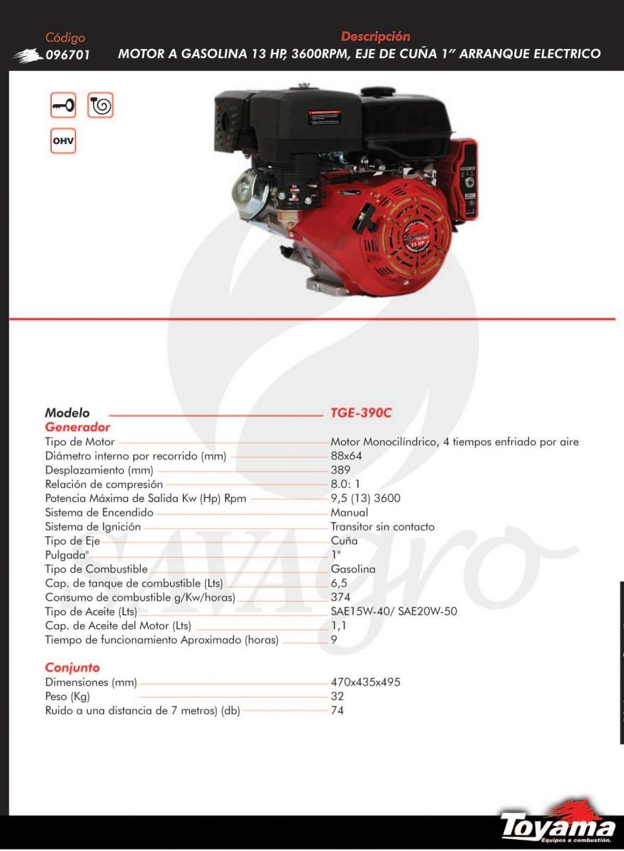 Motor a gasolina 13hp 3600 rpm TGE-390C 096701