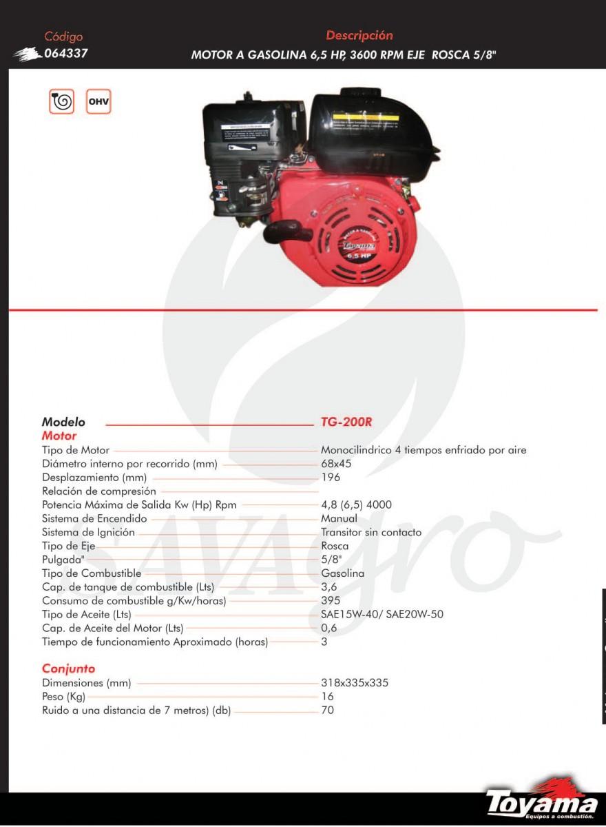 Motor a gasolina 6,5 hp TG-200R 064337