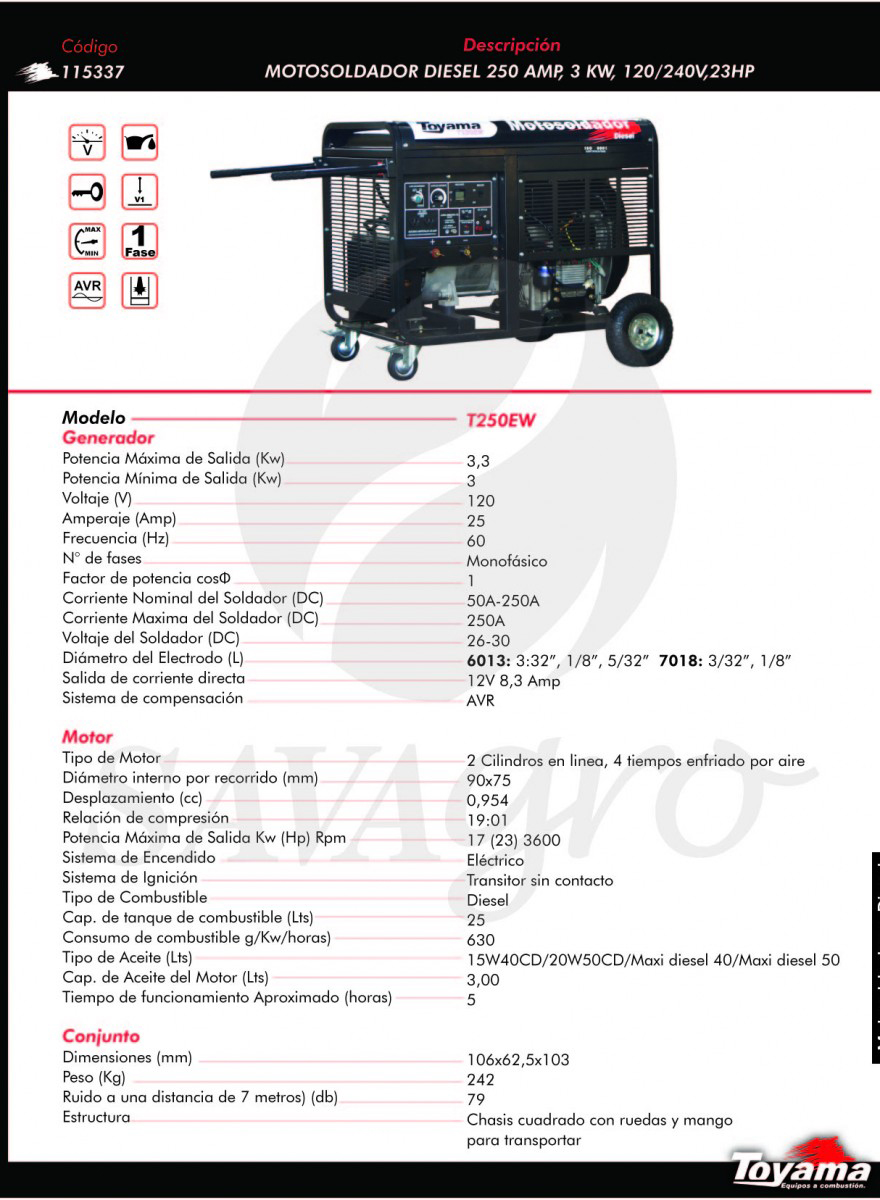Motosoldador Diesel 250 apm, 3 kw T250EW 115337
