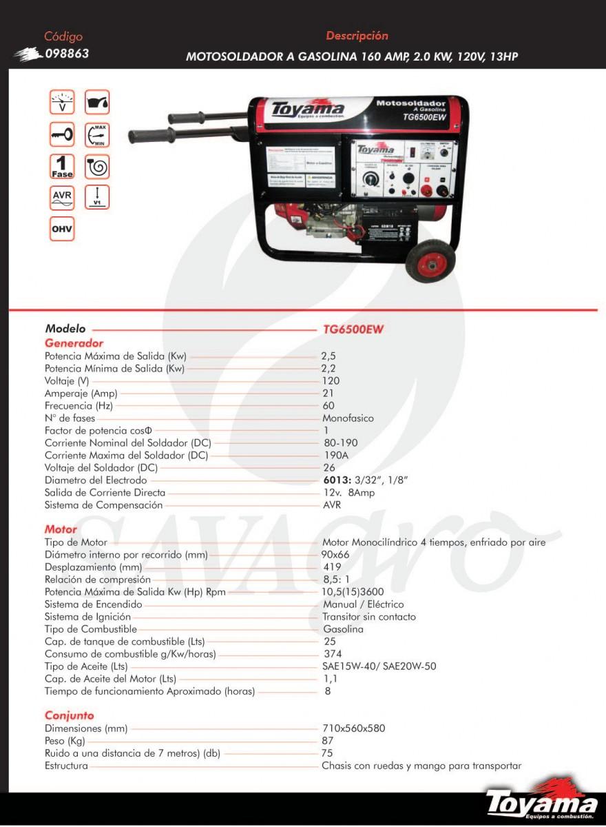 Motosoldador a Gasolina 160 amp, 2.0kw TG6500EW 098863