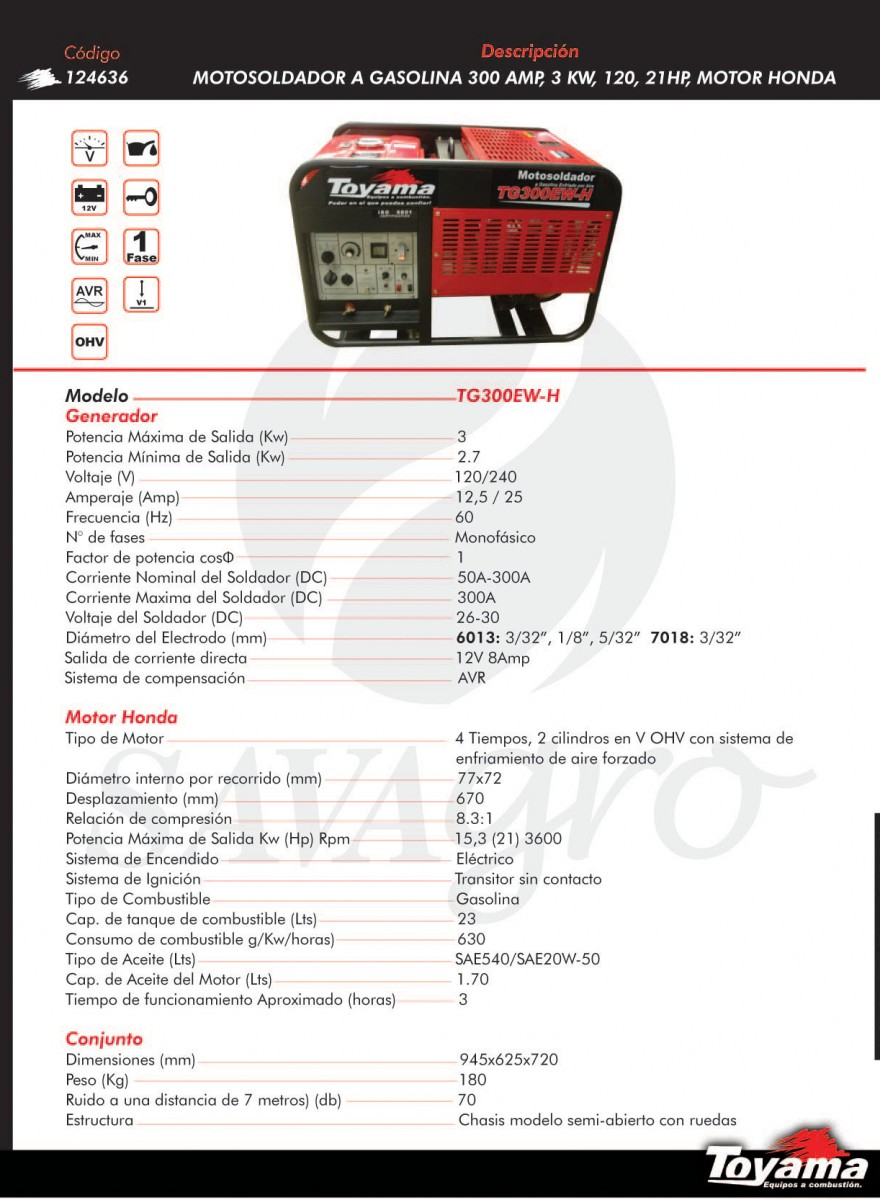 Motosoldador a Gasolina 300amp 3kw TG300EW-H